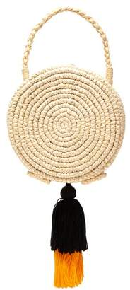 Sensi Studio - Woven Straw And Tiered Tassel Basket Bag - Womens - Yellow Multi