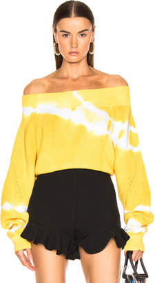 MSGM Marina Tie Dye Off Shoulder Sweater in Yellow | FWRD