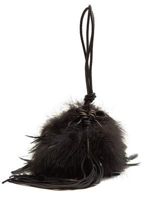 Saint Laurent Mansour Feather Embellished Clutch - Womens - Black