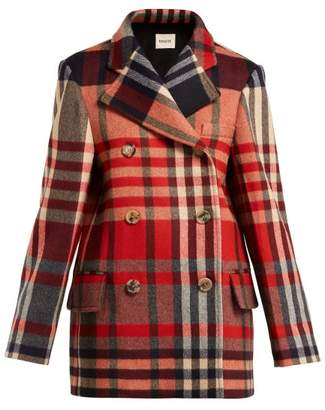 Khaite - Clara Double Breasted Checked Wool Blend Coat - Womens - Red Multi