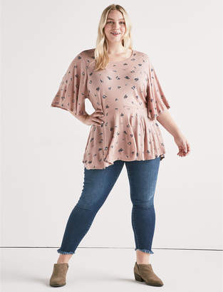 Lucky Brand PRINTED FLUTTER SLEEVE TOP