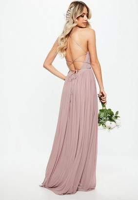 Missguided Bridesmaid Pink Pleated Mesh Maxi Dress