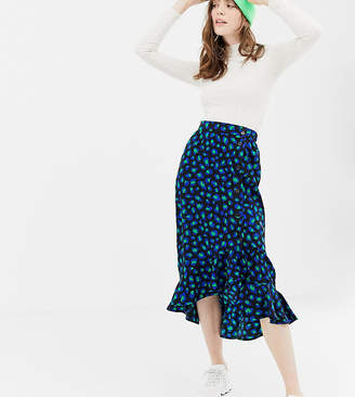 Monki leopard print skirt with side buttons in black