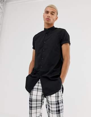 Asos Design DESIGN regular fit super longline shirt with grandad collar in black