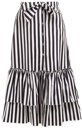 Caroline Constas Striped Tie Waist Cotton Midi Skirt - Womens - Black White