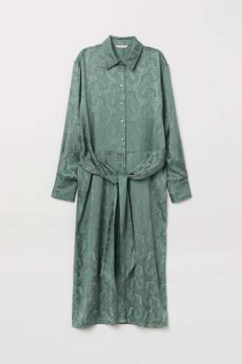 H&M Jacquard-weave Dress - Green