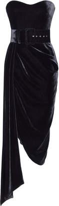 Rasario Silk-Blend Velvet Draped Midi Dress