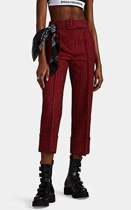 Alexander Wang Women's Belted Houndstooth Tweed Cuffed Crop Trousers