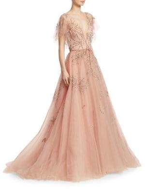 Monique Lhuillier Women's Embellished Tulle Gown - Antique Rose - Size 8