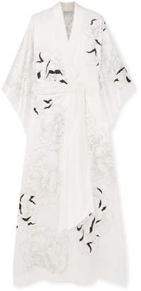 Carine Gilson Floral-print Silk-satin Robe - Ivory