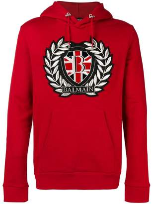 Balmain embroidered logo patch hoodie