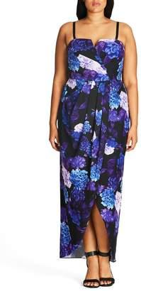 City Chic Hydrangea Print Maxi Dress