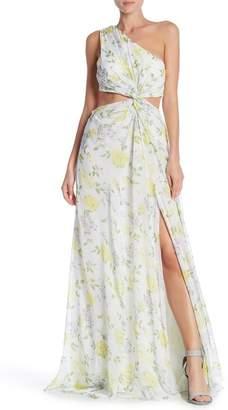 Cinq à Sept Gardenia Silk One Shoulder Maxi Dress