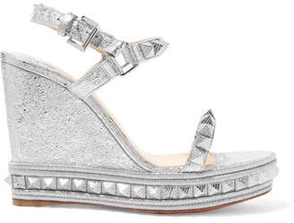Christian Louboutin Pyraclou 110 Spiked Metallic Textured-leather Wedge Sandals - Silver