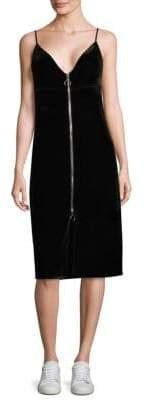 7 For All Mankind Velvet Zipper Sheath Dress