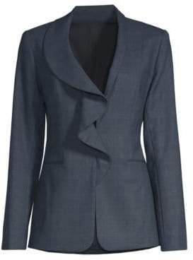 Elie Tahari Women's Siyah Ruffle Front Plaid Suiting Jacket - Navy - Size 2