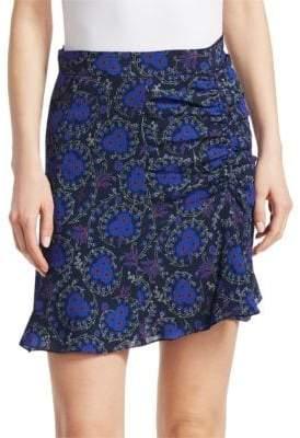 Derek Lam 10 Crosby Women's Floral-Print Ruched SIlk Mini Skirt - Black - Size 2