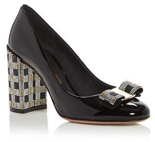 Salvatore Ferragamo Women's Vara Embellished High Block-Heel Pumps