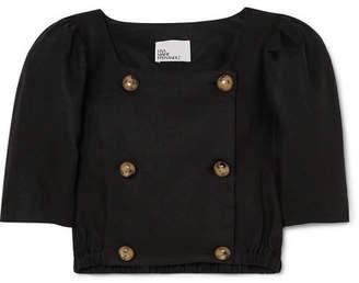 Lisa Marie Fernandez Diana Cropped Linen Top - Black