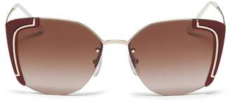Prada Cutout acetate rim metal angular sunglasses