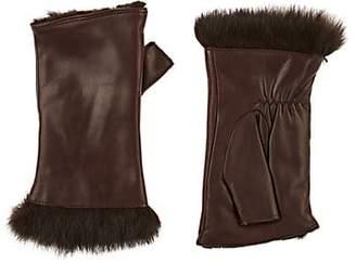 Barneys New York Women's Rabbit-Fur-Lined Leather Fingerless Gloves - Brown