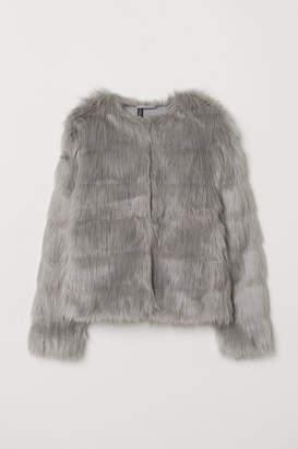 H&M Short Faux Fur Jacket - Gray