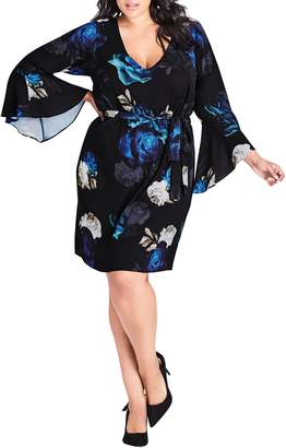 City Chic Electric Bell Sleeve Floral Dress