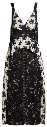 Proenza Schouler Floral Print V Neck Dress - Womens - Black Blue