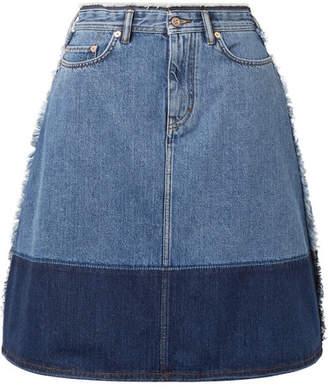Acne Studios Halona Two-tone Denim Skirt - Mid denim