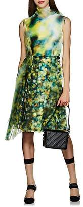 Prada Women's Layered Liquid-Crystal-Print Midi-Dress - Green