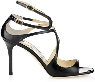 Jimmy Choo IVETTE Black Patent Leather Strappy Sandals