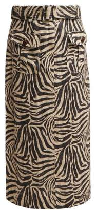 Zimmermann Corsage Zebra Print Safari Midi Skirt - Womens - Animal