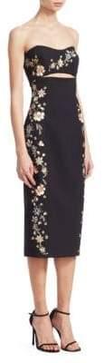 Cinq à Sept Women's Clemence Strapess Embroidery Dress - Black Multi - Size 8