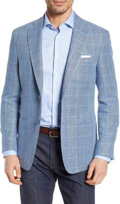 Hart Schaffner Marx New York Classic Fit Windowpane Cotton & Linen Sport Coat
