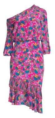 Saloni Women's Lexie Floral Silk Midi Dress - Hot Pink Azalea - Size 0
