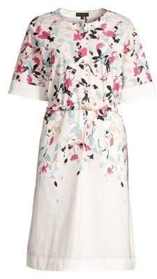Donna Karan Women's Abstract Belted Shift Dress - White Blush Lilac Combo - Size XL