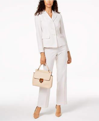 Le Suit Pinstriped Three-Button Pantsuit