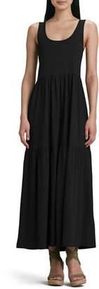 Joan Vass Plus Size Tiered Long Tank Dress