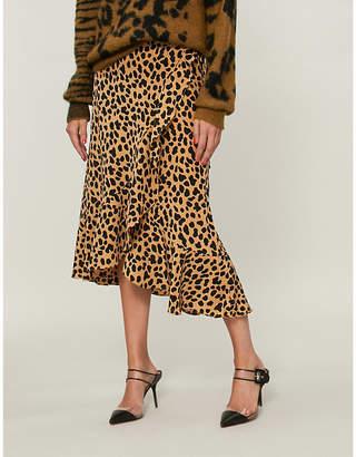 RIXO Gracie leopard-print silk-crepe skirt