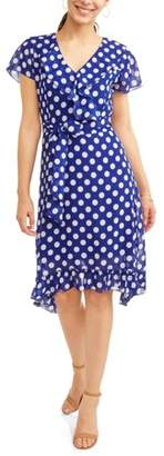Design Studio Jaquline Women's Ruffle Wrap Polka Dot Dress