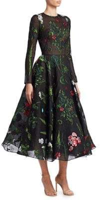 Oscar de la Renta Women's Floral-Embroidered A-Line Silk Crepe Tea Dress - Black Multi - Size 8