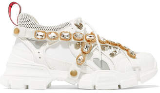 Gucci Flashtrek Embellished Logo-embossed Leather, Suede And Mesh Sneakers - White