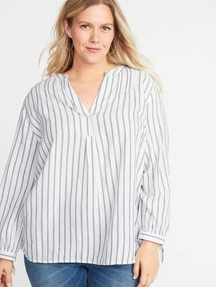 Old Navy Striped Twill Tie-Cuff Plus-Size Blouse