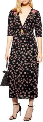 Topshop Embellished Floral Midi Dress