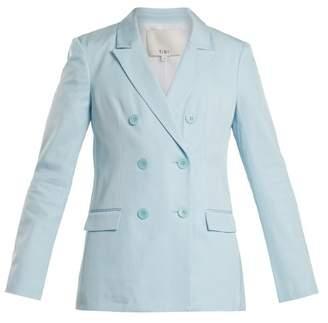 Tibi Steward Double Breasted Peak Lapel Blazer - Womens - Light Blue