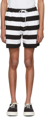 Noah NYC Black and White Rugby Shorts