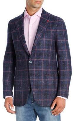 Isaia Domenico Windowpane Cashmere Sport Coat