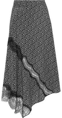 Joseph Templer Lace-trimmed Printed Silk Crepe De Chine Midi Skirt - Black