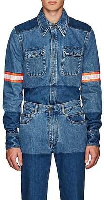 Calvin Klein Men's Reflective-Tape-Trimmed Denim Shirt Jacket - Blue