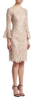 Teri Jon by Rickie Freeman by Rickie Freeman Women's Bell-Sleeve Lace Sheath Dress - Champagne - Size 2